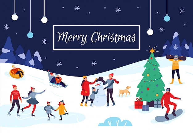 Winter people merry christmas card. snow activities, happy kids make snowman and xmas holiday postcard vector illustration