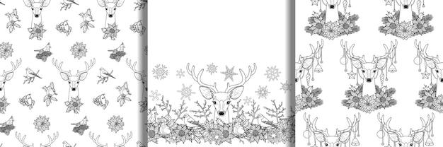 グリーティングカード用に設定された鹿のシームレスなパターンを持つ冬の植物は、ページを着色するモックアップ