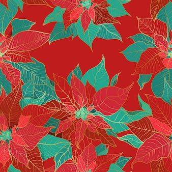 겨울 포인세티아는 크리스마스 포장 및 포장지 또는 직물을 위한 매끄러운 패턴입니다.