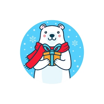 겨울 북극곰 크리스마스 선물 일러스트