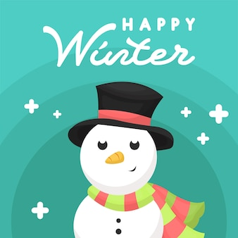 Winter post card with snowman character illustration
