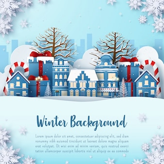 Winter   postcard banner of town with snowing