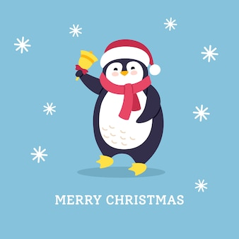 冬のはがき漫画挨拶クリスマス。ベル付きフラットペンギン。新年の動物キャラクター。孤立した