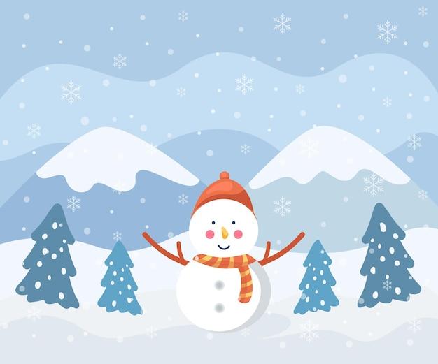 내부 눈사람 겨울 포스터 디자인 일러스트 레이 션