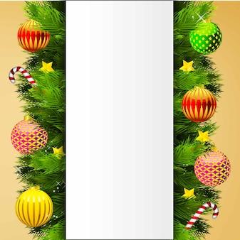 クリスマスツリーと冬のポスターイラスト。