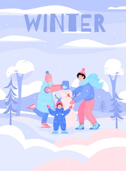 Winter poster with happy family building a snowman together.