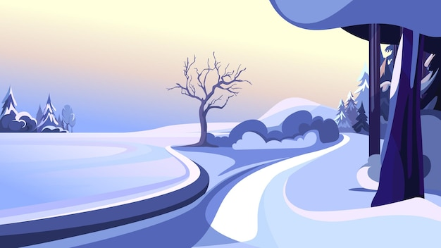 冬の公園。美しい自然の風景。