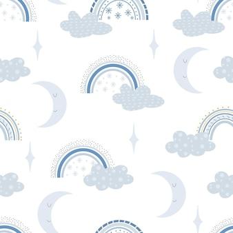 겨울 무지개 귀여운 패턴입니다. 디지털 종이. 직물, 포장, 섬유, 벽지, 의류에 대한 창의적인 유치한 인쇄. 파스텔 색상의 벡터 만화 그림