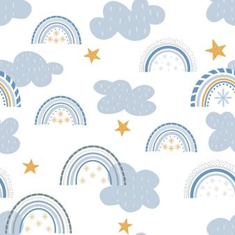 冬の虹のかわいいパターンデジタルペーパー生地を包むテキスタイルのための創造的な幼稚なプリント