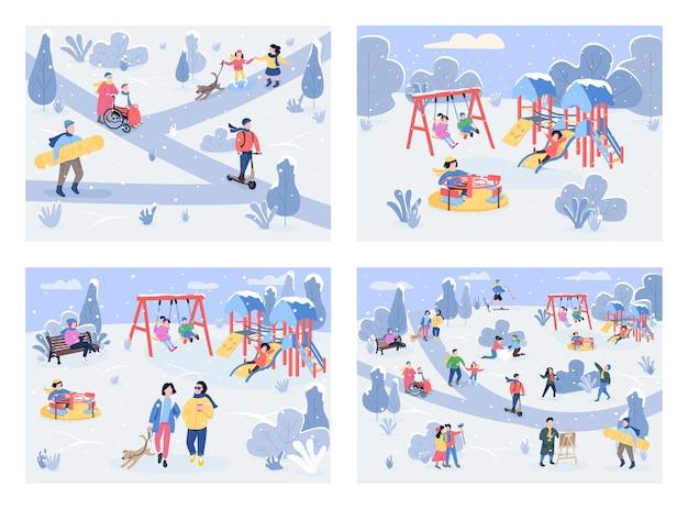 Winter recreation area flat color illustration set