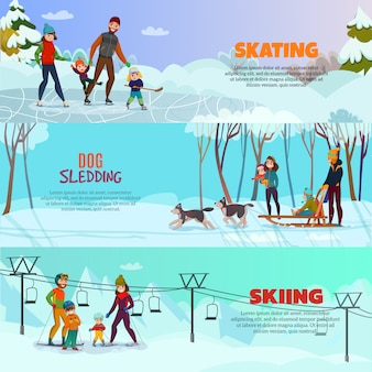 Winter recreation  banner set set