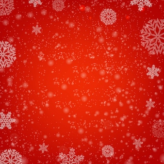 Winter red background with snow