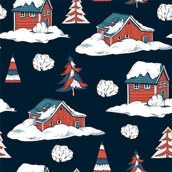 Winter red houses covered with snow in scandinavian style seamless pattern
