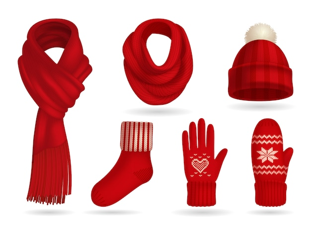 Winter red knitted clothes realistic set with mittens and scarf isolated