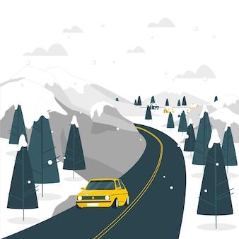 Winter road concept illustration