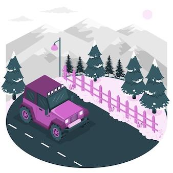 Winter roadconcept illustration