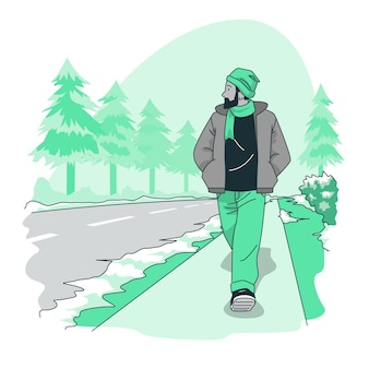 겨울 도로 개념 그림
