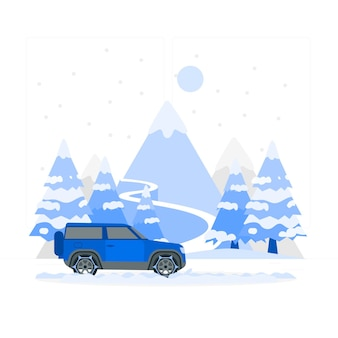 Illustrazione di concetto di strada invernale