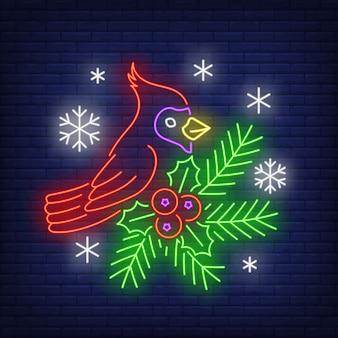 Winter robin in neon style