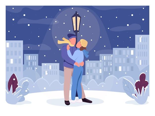 Зимний романтический вечер плоский цвет. мужчина обнимает женщину в снегопаде. люди в городском парке под светящимся полюсом лампы. пара 2d героев мультфильмов с городским пейзажем на фоне