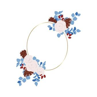 Winter rose and eucalyptus frame wedding frame