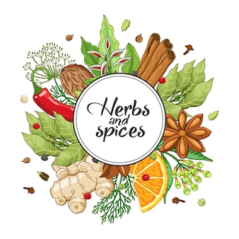 Winter round with spices and herbs