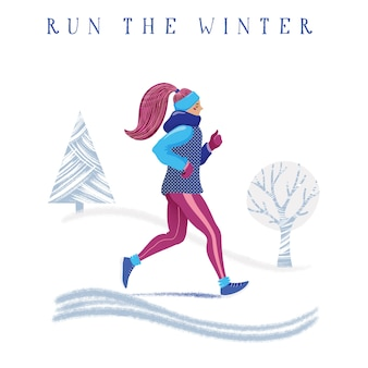 Winter running concept