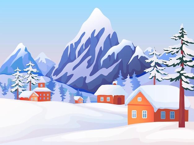 Зимний сельский пейзаж. сцена природы со снежными горными вершинами, деревянными домами и елями