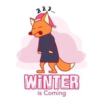 Winter's fox hand drawn illustration