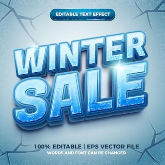 Зимняя распродажа 3d эффект замороженного льда с редактируемым текстом