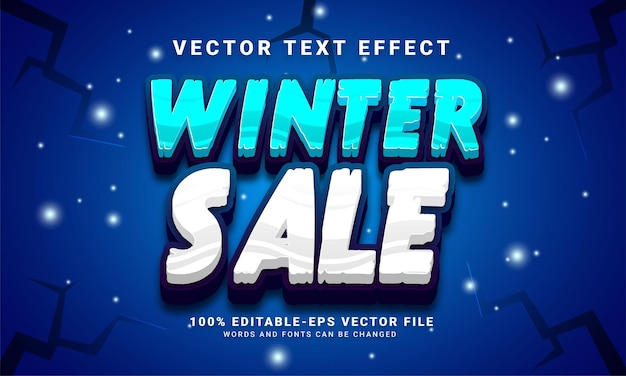 Winter sale 3d text effect, editable text style and suitable for celebrate winter season