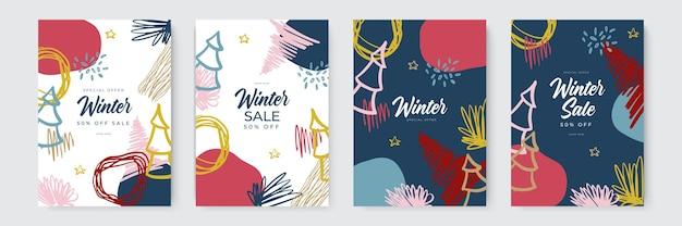 オーガニックと手描きのスタイルの抽象的なバックの冬のセールとクリスマスホリデーカード...