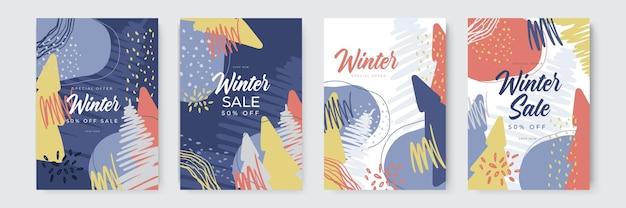 手描きとオーガニックスタイルの冬のセールとメリークリスマスのグリーティングカードトレンディな抽象的な勝利...