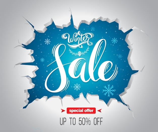 Winter sale background for promotion