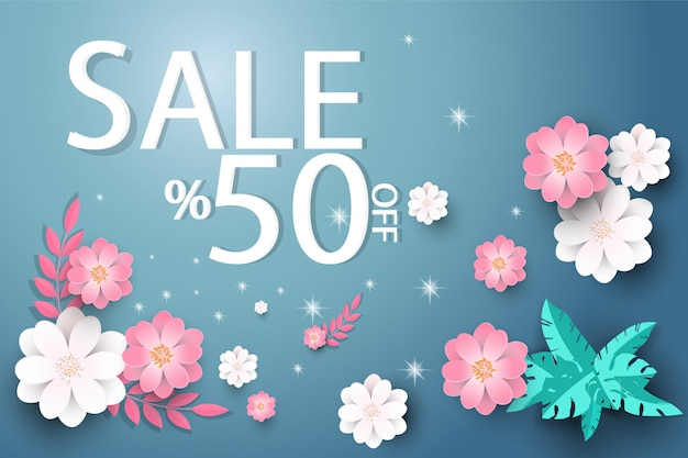 Winter sale background with  beautiful flower.