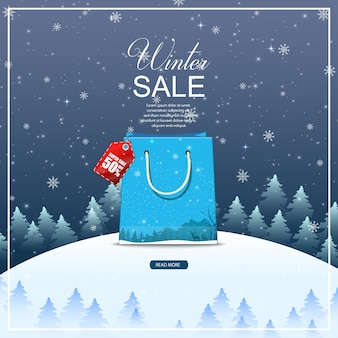 Winter sale background with blue bag