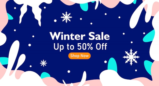 Winter sale background with floral frame