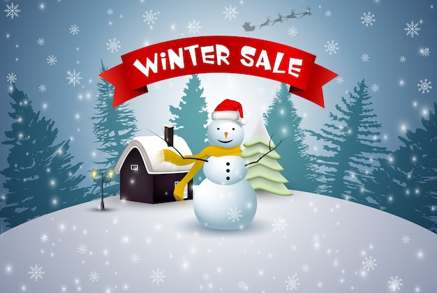 Winter sale background with snowman