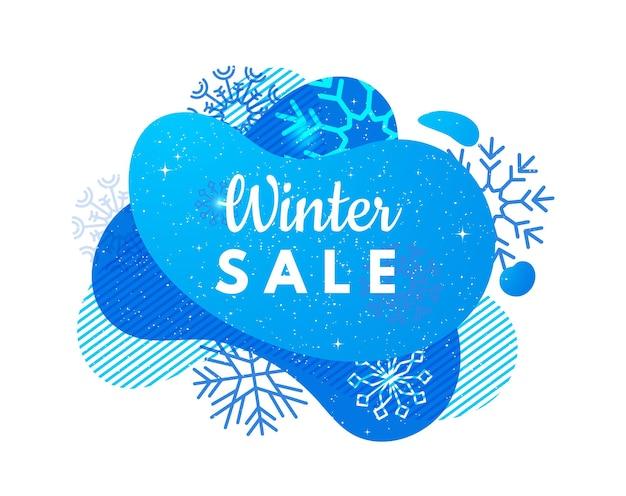 겨울 판매 배너입니다. 추상 파란색 모양, 눈송이 및 강설량입니다. 할인 또는 특별 가격 벡터 배경. 크리스마스 휴일 판매 배너 그림