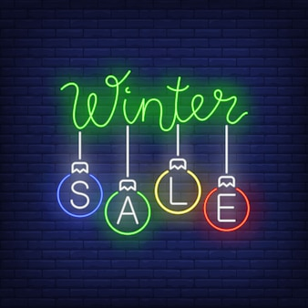 Winter sale banner, christmas balls in neon style