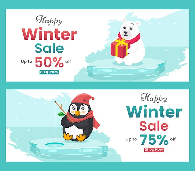 Winter sale banner discount with with flat illustrations