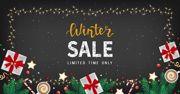 Winter sale banner flyer special seasonal offer big sale fir branches, gifts boxes, cookies, sweets