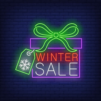 Winter sale banner, gift box in neon style