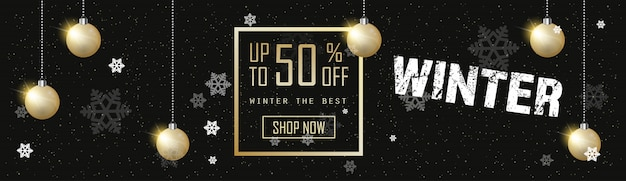 Winter sale banner golden christmas balls season shopping template special discount offer black background poster flat
