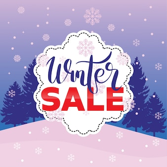 Winter sale banner label flayer tag snowflake background