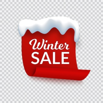 Winter sale banner, red paper with snow cap and text