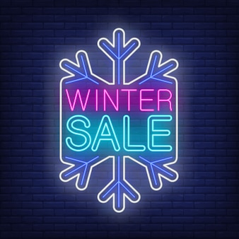 Winter sale banner, snowflake in neon style