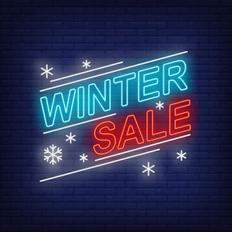 Winter sale banner, and snowflakes in neon style