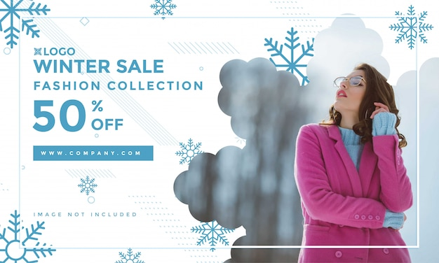 Winter sale banner template for fashion stores