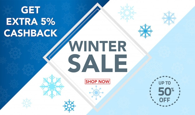 Winter sale banner template with snowflakes background